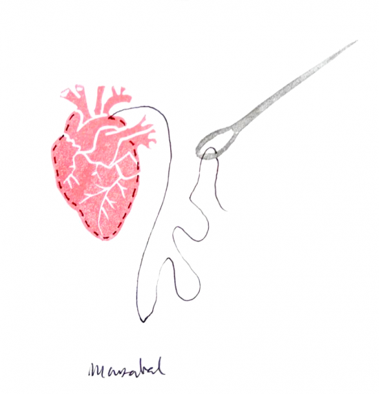 Sewing the heart Illustration by Marzabal