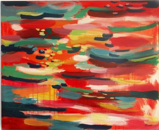 """Red sea"", acrylic paint on 2D canvas, Measures: 19,7 x 27,5″ Year: 2016, Private Collector"