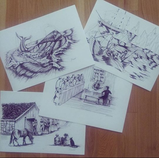 Illustrations for the Baskavigin documental, 2016