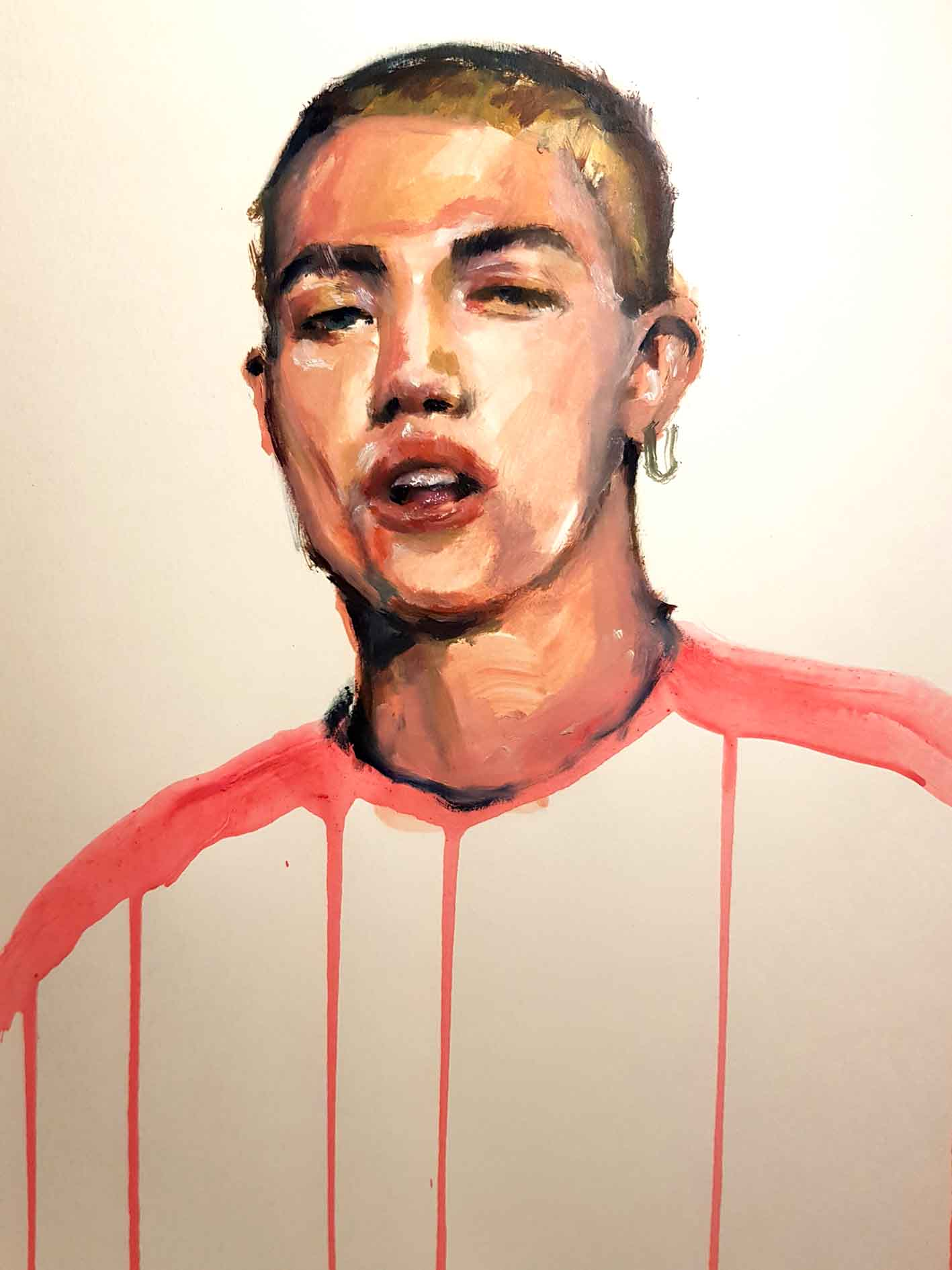 Unisex Portrait, oil painting over paper, A3, 2019