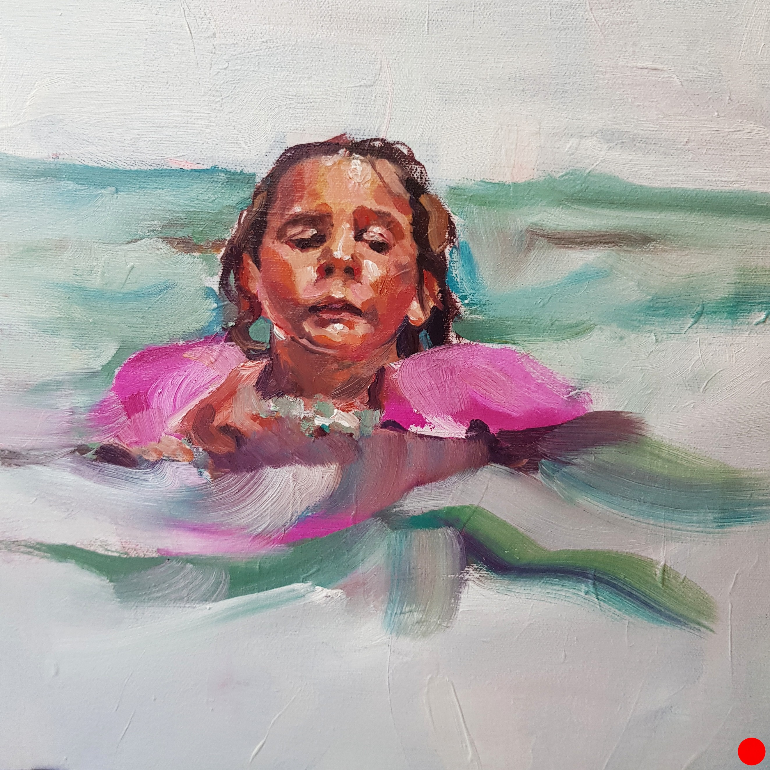 """LEARNING TO SWIM"" OIL PAINT ON 3D CANVAS, MEASURES: 11×11″, YEAR: 2018, sold"