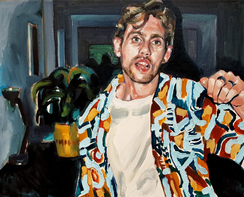 David from the serie Dancing-Alone, 20×16″, oil over canvas, 2019