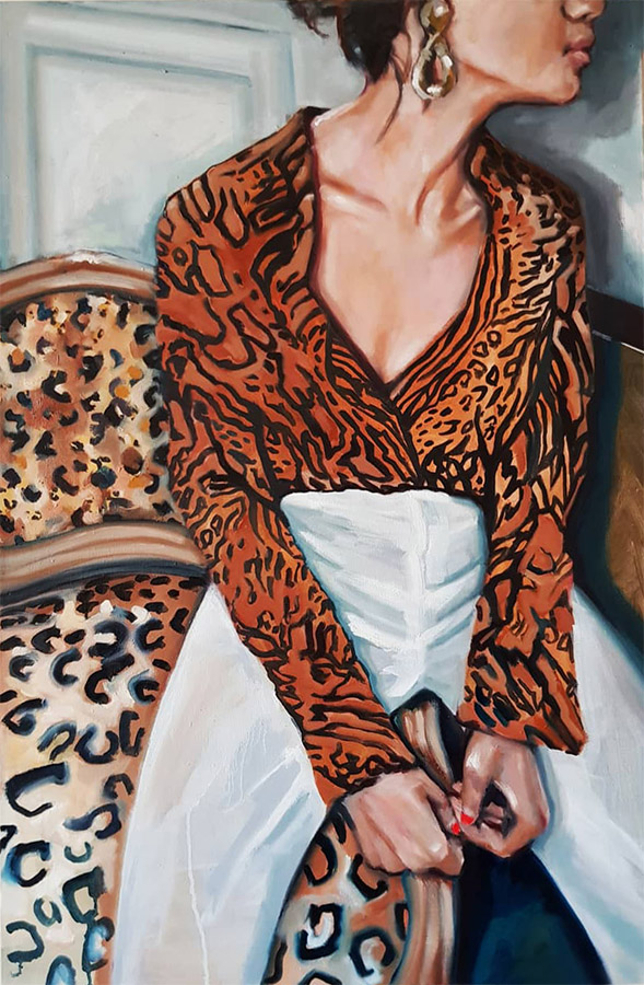 """Cheetah Pattern"" OIL PAINTING OVER 2D CANVAS, MEASURES: 24X36″, YEAR: 2019"