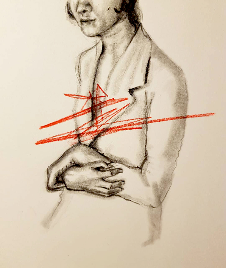 red lines Drawing by Marzabal
