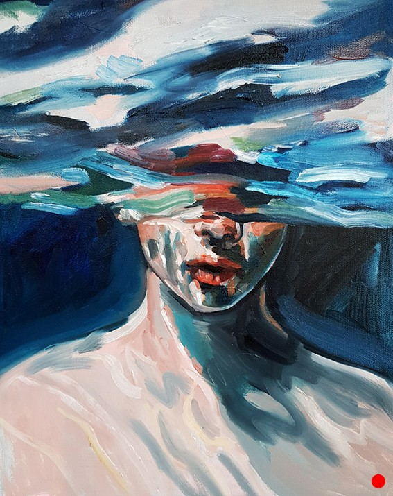 UNDERWATER, OIL PAINTING ON 3D CANVAS, 16×20 IN, 2019, SOLD