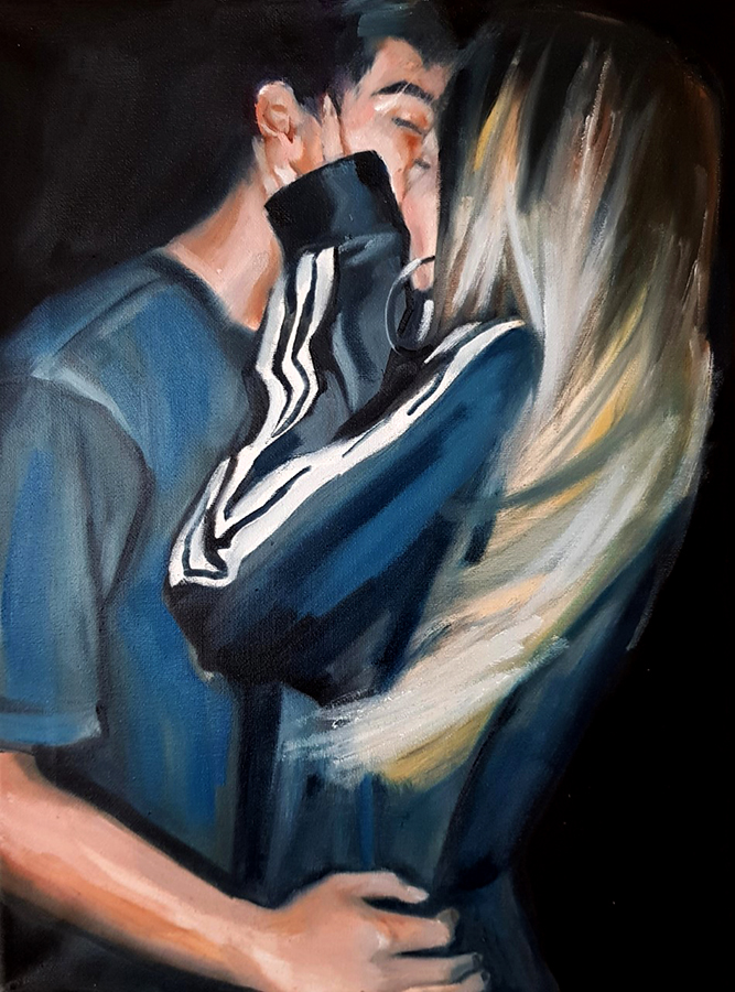 The Kiss, oil on canvas,16x12in, 2020